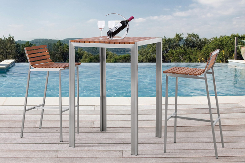Products / BAR CHAIR & BAR TABLE / Teak and Stainless Steel outdoor ...