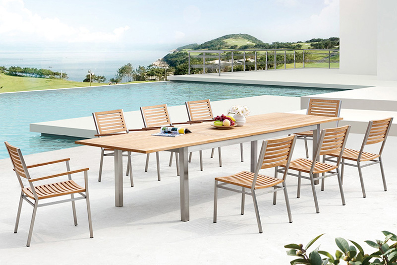 Products / CHAIR & TABLE / Teak and Stainless Steel garden extension table  set_GREENTEK Outdoor Furniture - Products / CHAIR & TABLE / Teak And Stainless Steel Garden Extension