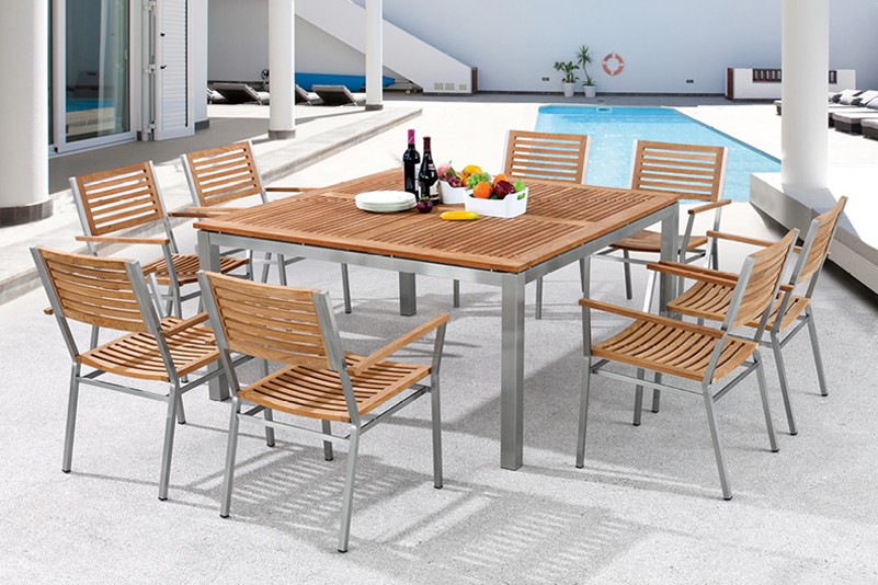 High Quality Garden Furniture With Large Square Table And Chairs