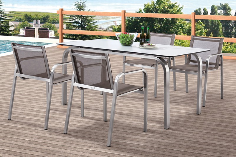 Hpl Top Stainless Steel Frame Outdoor Furniture