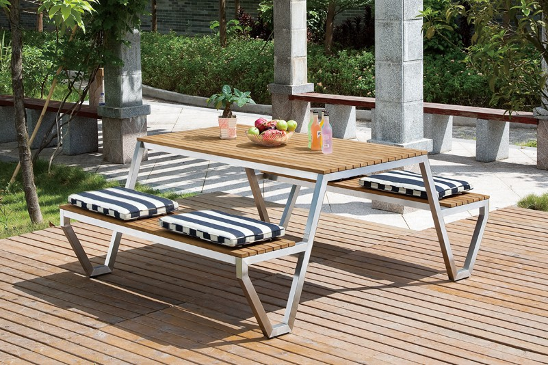 S S304 Outdoor Stainless Steel Teak Wood Table And Bench Set