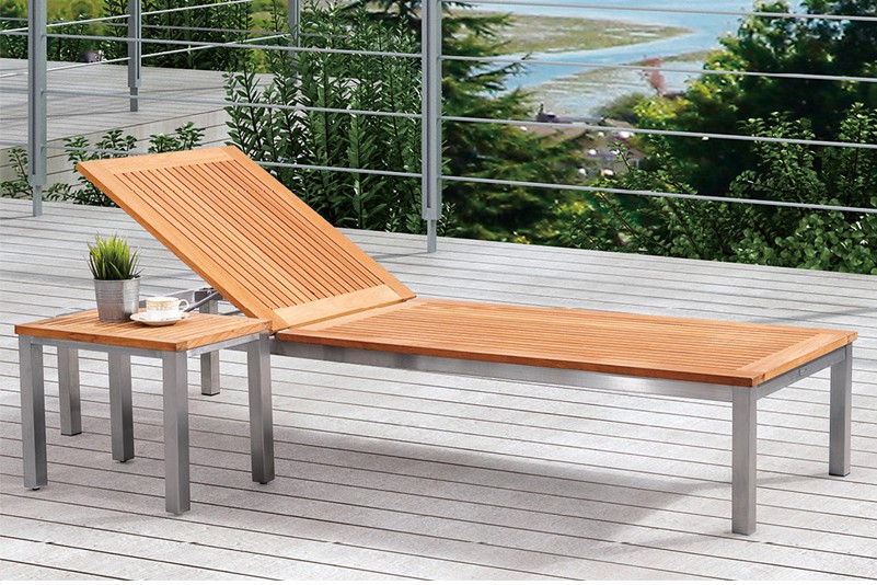 Products Daybed Outdoor Stainless Steel Teak Chaise Lounge Set Greentek Furniture