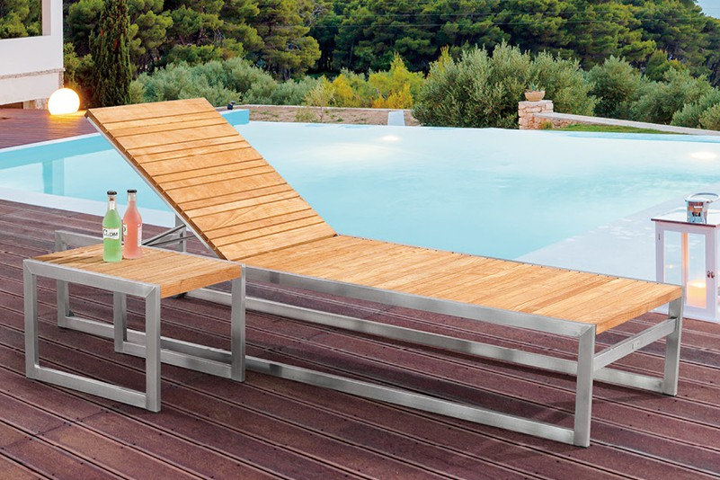 Products Daybed Nordic Style Design Outdoor Stainless Steel Teak